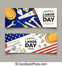 Happy labor day Construction tools flag of usa vector banners
