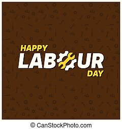 Happy labor Day Creative Typography on a Brown patterened Background