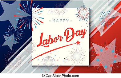 Happy Labor Day greeting card, american flag