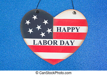 Happy Labor Day greeting with USA flag heart