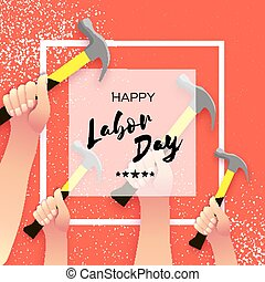 Happy Labor Day greetings card for national, international holiday. Hands workers holding tools in paper cut styl on red. Square frame. Space for text.