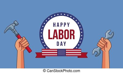 Happy labor day HD animation - Happy labor day round emblem...