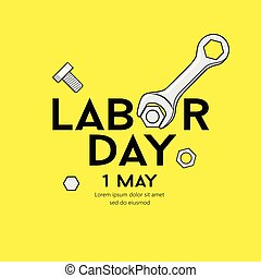 Happy Labor day message Vector Wrench Design on yellow background