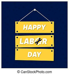 Happy Labor Day on Blue Patterened Background