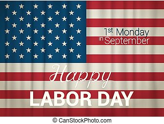 happy labor day on USA flag. vector illustration