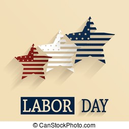 Happy Labor Day. Red, white and blue stars. Vector...