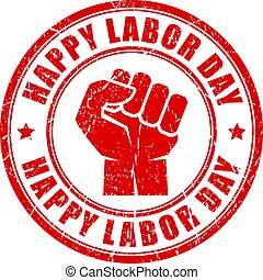 Happy labor day rubber stamp