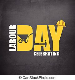 Happy labor Day Simple Typography on a Grey Background