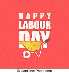 Happy labor Day Simple Typography on a Red Patterened Background