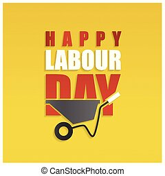 Happy labor Day Simple Typography on a Yellow Background