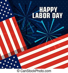 happy labor day united states of america flag with fireworks
