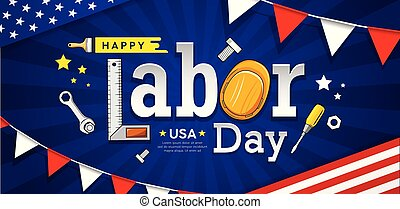 Happy labor day usa vector craftsman tool banner design