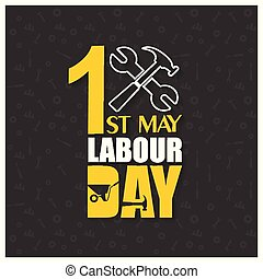 happy Labor Day with Hammer and Wrench on a Black Background