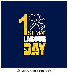 happy Labor Day with Hammer and Wrench on a Blue Background