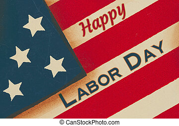 Happy Labor Day word message on red, white and blue