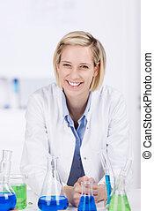 Happy laboratory technician