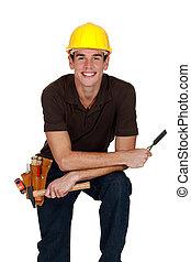 happy laborer, studio shot