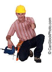 Happy laborer winking