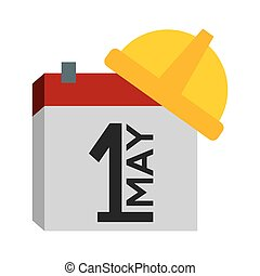 happy labour day calendar helmet vector illustration