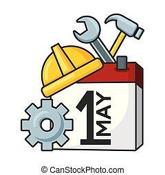happy labour day calendar tools hardhat vector illustration