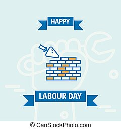 Happy Labour day design with vintage theme blue and orange with bricks logo