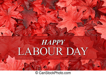 Happy Labour Day greeting with fall leaves