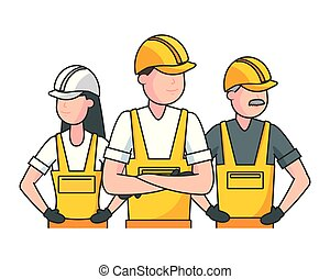 happy labour day group workers employee vector illustration