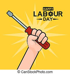 happy labour day hand with screwdriver vector illustration