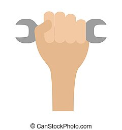 happy labour day - hand with wrench labour day vector...