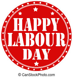 Label with text Happy Labour Day, vector illustration