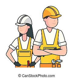 happy labour day man woman worker vector illustration