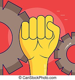 happy labour day - raised hand gear labour day vector...