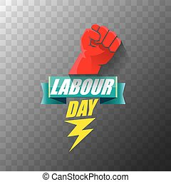 Happy labour day vector label with strong orange fist on ...