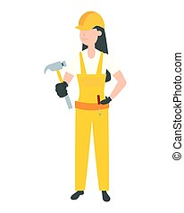 happy labour day worker woman with hammer vector...