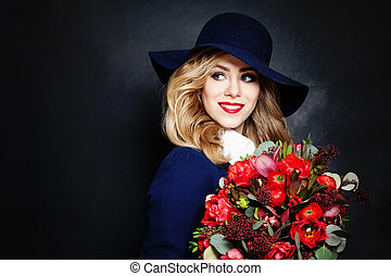 Happy Lady Fashion Model with Flowers