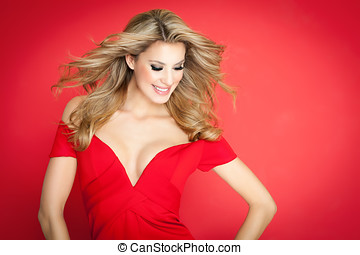 Happy Lady In Red