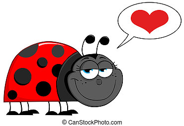 Happy Ladybug Cartoon Character With Speech Bubble