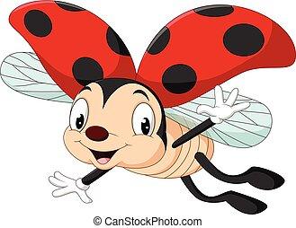 Happy ladybug flying - Vector illustration of Happy ladybug...