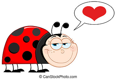 Happy Ladybug With Speech Bubble