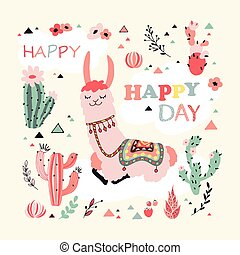 Happy Lama Card - Happy lama card with lovely flowers and...