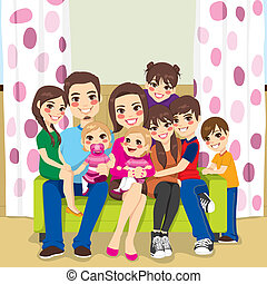 Happy Large Family - Large family of mother and father with...
