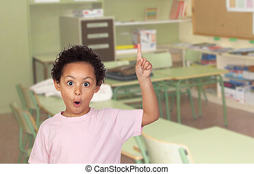 Happy latin child asking to speak