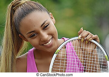 Happy Latina Female Tennis Player