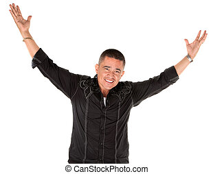 Happy latino man with raised arms