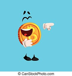 Happy laughing bitcoin character pointing at something, crypto currency emoticon vector Illustration on a sky blue background