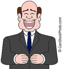 Happy Laughing Businessman - A balding cartoon businessman ...