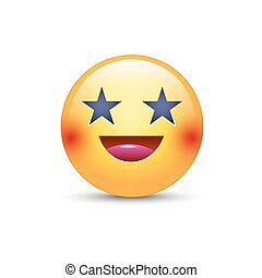 Happy laughing emoji face with eyes in the form of stars. Fun cartoon vector emoticon with smile. Cute yellow smiley for application and chat