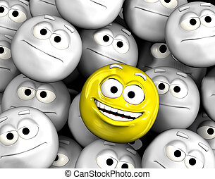 Happy laughing emoticon face among other grey, neutral, indifferent faces