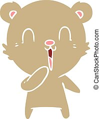 happy laughing flat color style cartoon bear