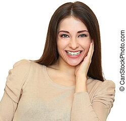 Happy laughing girl with wild toothy smile looking isolated...